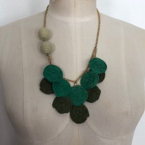 Anthropologie paper arts green necklace